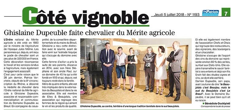 Ghislaine Dupeuble faite Chevalier du Mérite agricole