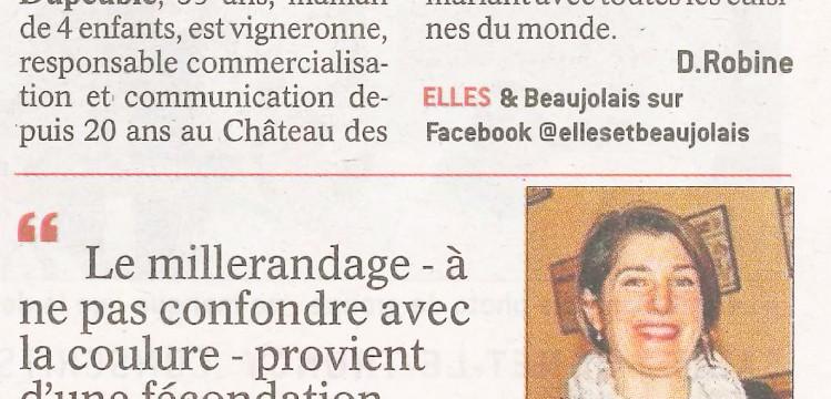 Le Progres 2017-09-10 Millerandage Ghislaine Dupeuble