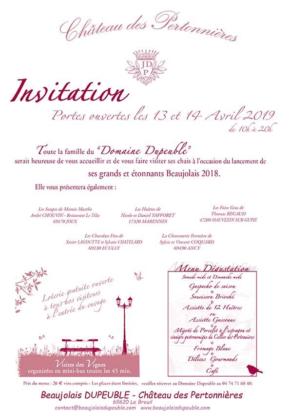 affiche-Portes-Ouvertes-Beaujolais-DUPEUBLE-Chateau-des-Pertonnieres-printemps-2019
