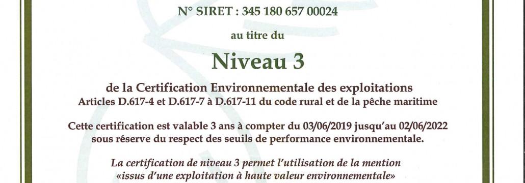 HVE diplome beaujolais dupeuble chateau des pertonnieres haute valeur environnementale