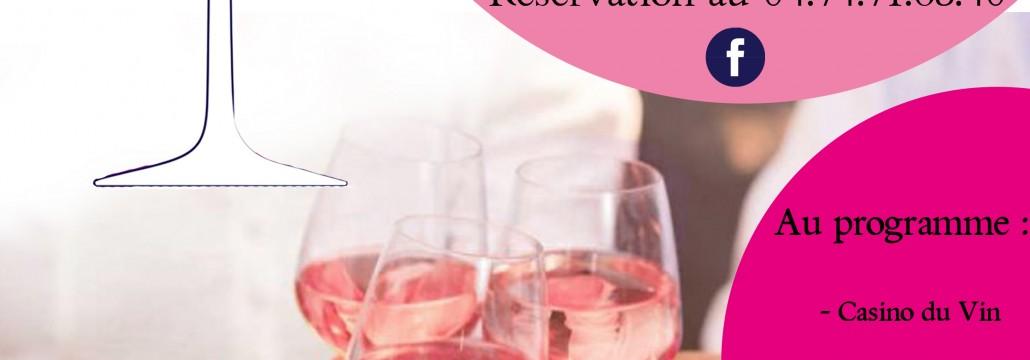 Invitation - flyer Pink Casino rose nuit ete Beaujolais Dupeuble chateau des pertonnieres