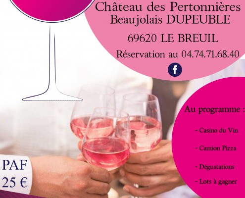 Invitation - flyer Pink Casino rose nuit ete Beaujolais Dupeuble chateau des pertonnieres