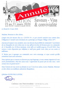 annulation Trinquet Village mars 2020 Chateau Pertonnieres Beaujolais DUPEUBLE