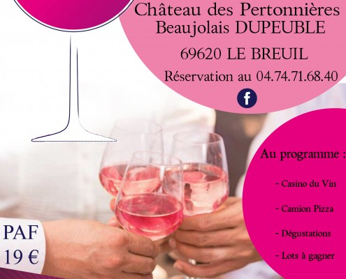 2020 Invitation - flyer Pink Casino rose nuit ete Beaujolais Dupeuble chateau des pertonnieres