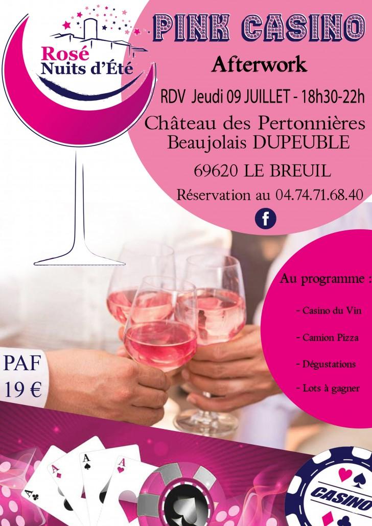 2020 Invitation - flyer Pink Casino rose nuit ete Beaujolais Dupeuble chateau des pertonnieres