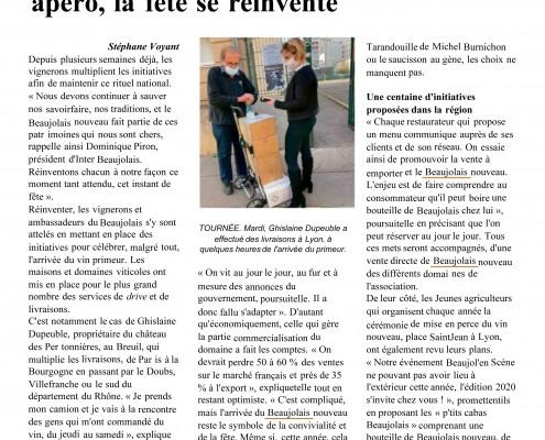 2020 11 19 Le Pays - Chateau Pertonnieres Beaujolais Dupeuble chefs chais-1