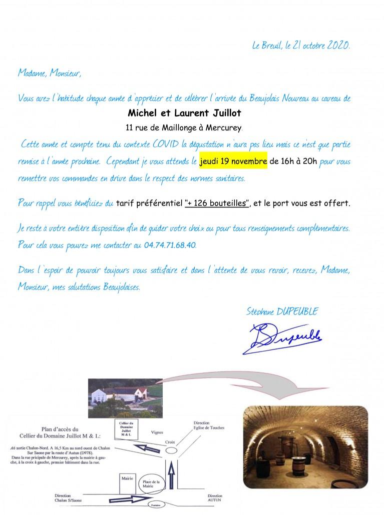 Courrier JUILLOT Nov 2020 Mercurey Chateau Pertonnieres Beaujolais DUPEUBLE COVID