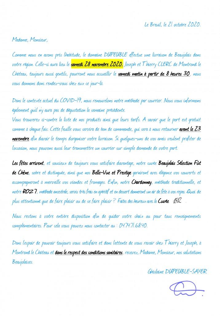 lettre doubs nov 2020 chateau pertonnieres beaujolais dupeuble covid-1
